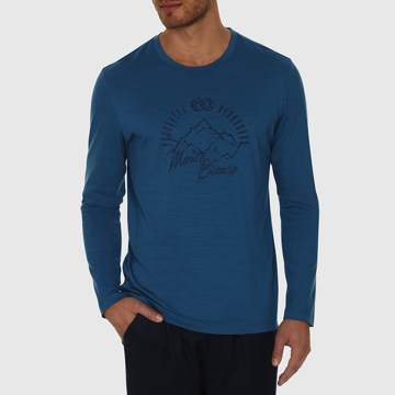 Rewoolution Mens Graphic Tee LS Col. Sapphire
