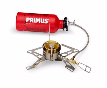 Primus OmniFuel II with fuel bottle