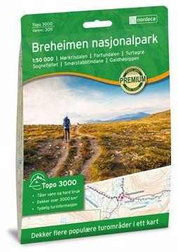 Nordeca Topo 3000 Turkart 1: 50 000 Grønn Jostedalsbreen Nasjonalpark