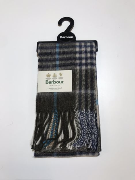 Barbour Dunrobin Check Scarf Olive/Bright Blue