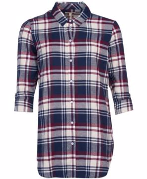 Barbour Wms Windbound Shirt Blackberry Check 12