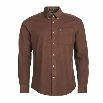 Barbour Mens Cord Tailored Shirt Brown XL