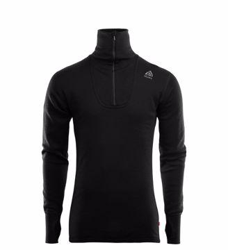 Aclima Mens DoubleWool Polo Shirt Zip Jet Black/Marengo M