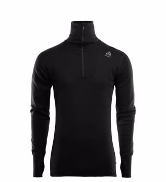 Aclima Mens DoubleWool Polo Shirt Zip Jet Black/Marengo XL