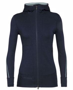 Icebreaker Wms Quantum II Ls Zip Hood Serene Blue XL