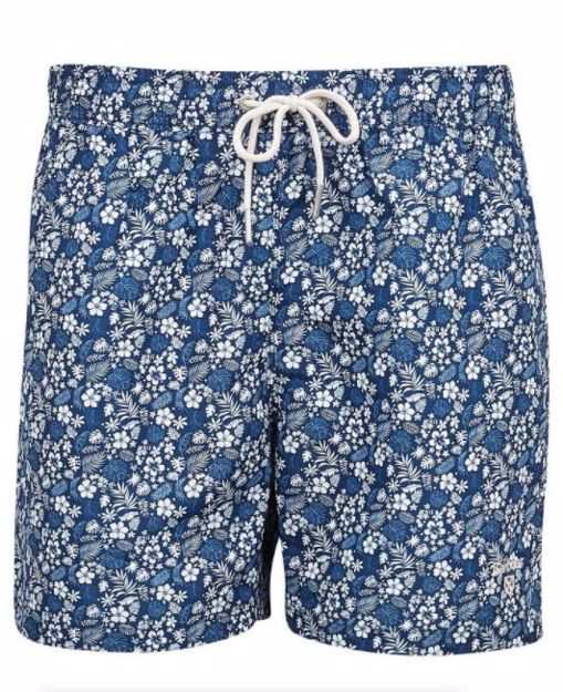 Barbour Mens Crescent Badeshorts Navy Pattern M